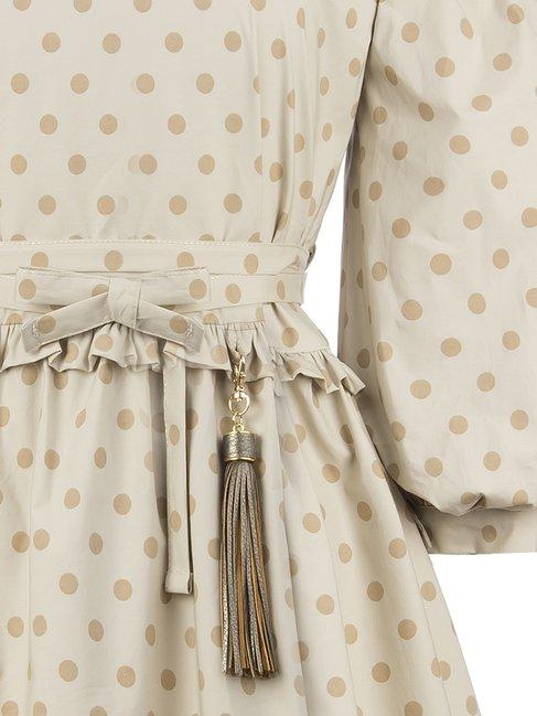 Хлопковое платье с баской в горох Rinascimento