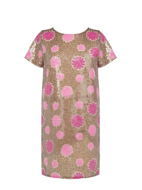 Платье в пайетках, с цветочным принтом Rinascimento