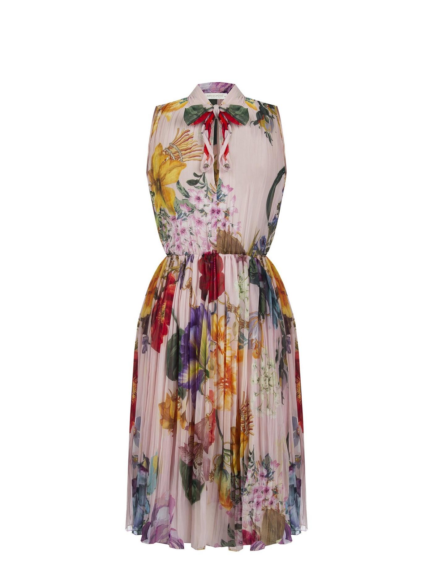 Платье  юбка плиссе Rinascimento, цвеночный принт.