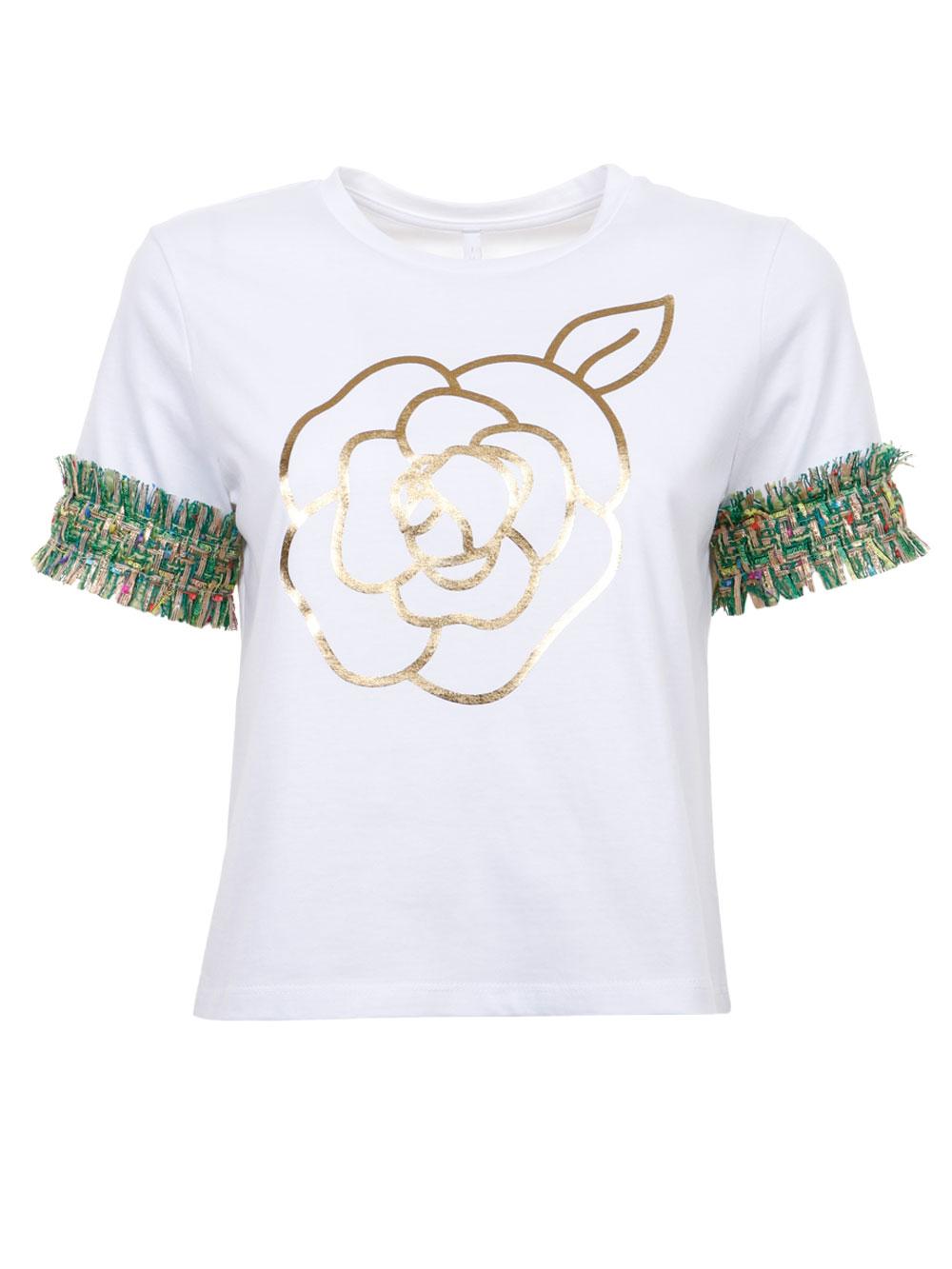 Бавовняна футболка з золотістою квіткою Imperial