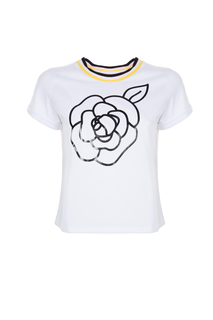 Стильна футболка з чорною квіткою Imperial