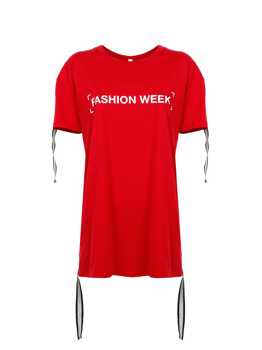 Футболка з написом Fashion Week, червоного кольору  Imperial