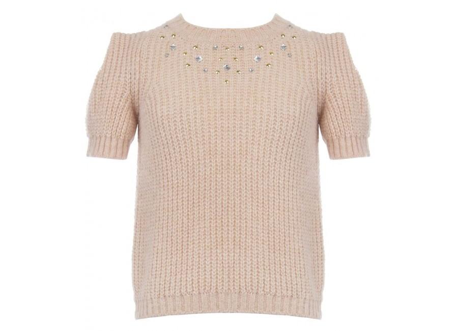 Рожевий светр з короткими рукавами RINASCIMENTO