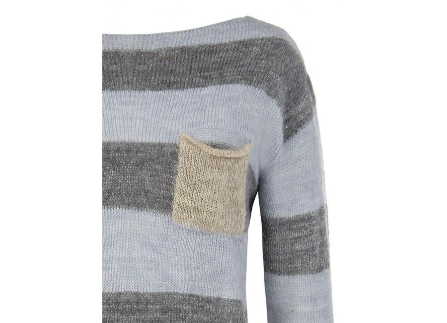 Голубой свитер в полоску RINASCIMENTO