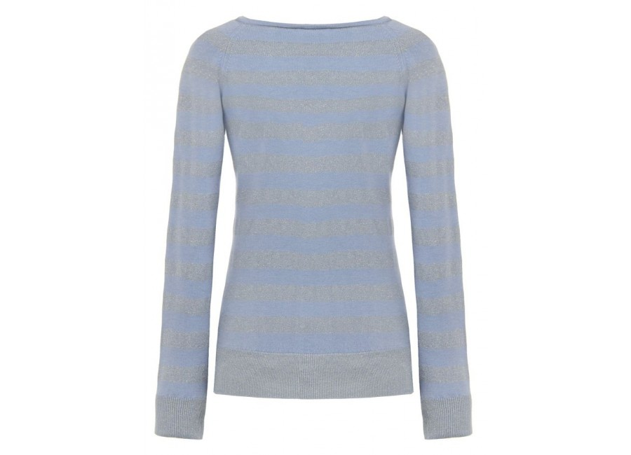 Голубой свитер в люрическую полоску RINASCIMENTO
