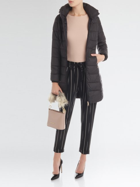 Черное стеганное пальто итальянского бренда RINASCIMENTO