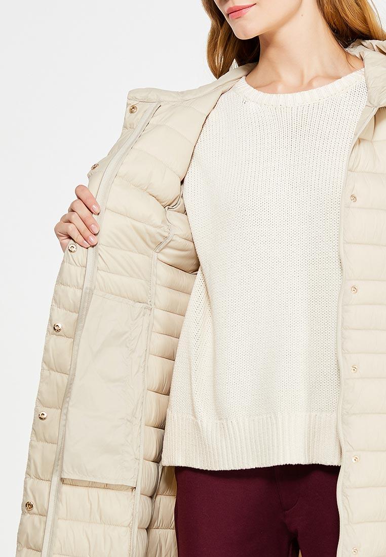 Светло бежевое стеганное пальто с поясом RINASCIMENTO